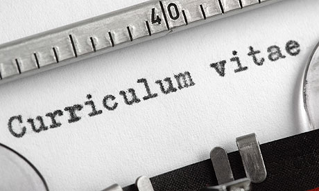 Curriculum vitae written on typewriter