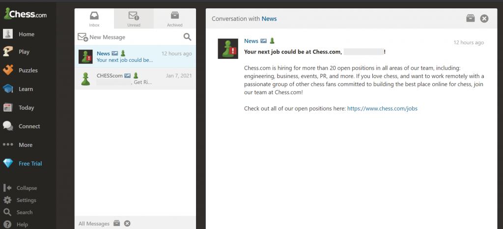 chess.com communication recrutement